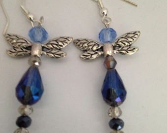 Handmade Crystal Cut Glass Dragon Fly Earrings