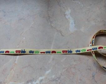 Yellow patterned train, locomotive Ribbon... 10 mm