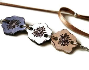 Necklace-headband naïve flowers printed on leather, Bloom collection