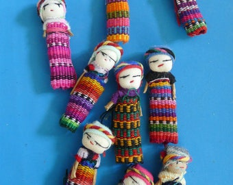 set of 9 dolls lucky Mexican 15X55MM