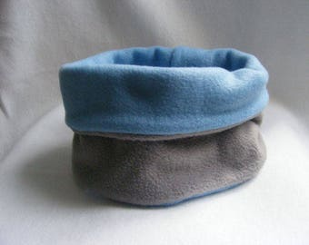 Snood for boy fleece reversible grey and blue