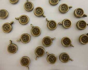 Set of 5 charms shaped button in bronze