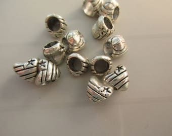 5 spacer beads pandora style silver metal heart shape