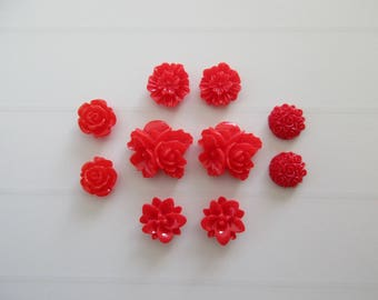 10 flowers stick red resin cabochons