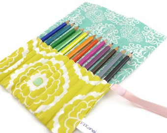 Wallet case for pencils (or felt end) roll - Arabesque turquoise and lime flower