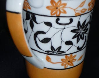 Hand painted porcelain mug: Ochre yellow and Black Lace