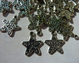 10 charms pendant star writing just for you 12mm