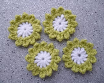 4 flowers in off white, lime green crochet wool made by hand
