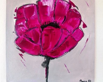 Table modern flower - painting on canvas 30 x 30.