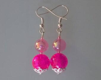 2 neon pink pearl earrings