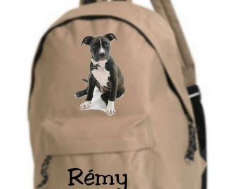 bag has beige American staff personalized with name