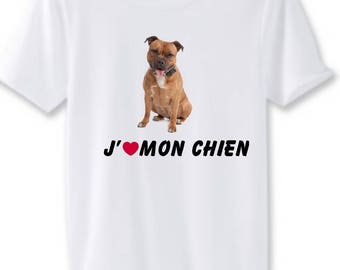 Pitbul man white t-shirt I love my dog