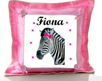 Cushion Pink Zebra personalized with name