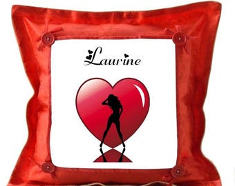 Red cushion Silhouette and heart personalized with name