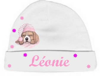 Personalized with name White puppy baby bonnet