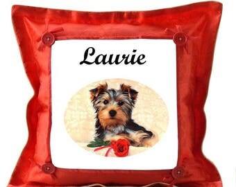 Yorkshire red pillow personalized with name