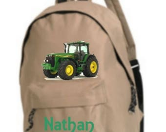 bag has beige tractor personalized with name