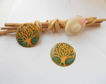 x 4 tree of life enamel yellow green sequins