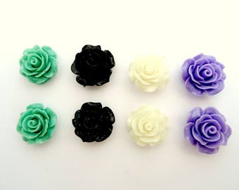 Set of 8 colorful flowers T5 cabochons