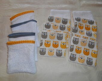 set of wipes and small matching gloves bamboo - yellow and grey OWL