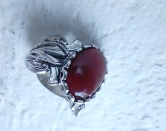 Passion - style Art nouveau ring red heart