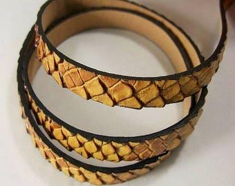 20cm beautiful ribbon effect dragon /serpent embossed faux leather, saffron orange brillant10mm