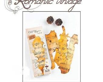 Superb set of 30 cardstock effect aged, vintage inspired cards burnt on bottom of a sheet music
