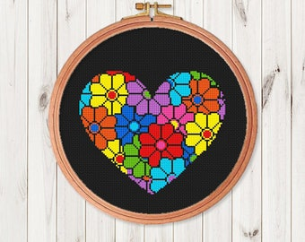 Flower Heart Cross Stitch Pattern Floral Easy Cross Stitch PDF Modern  love cross stitch