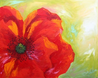 """FLOWERS - Acrylic painting on canvas """"Lovely poppies ladies!"""""""