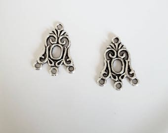 set of 2 candle holders/connectors silver