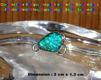Glass silver plated connector dichroic Opalescent-Turquoise-green - Lavender 2 cm - #10