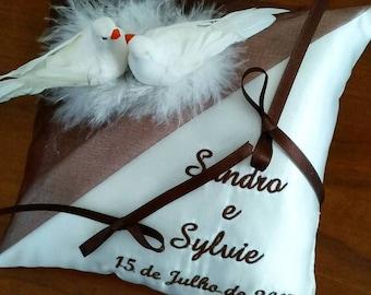 Pillow wedding ring pillow white doves