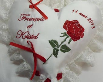 ring bearer pillow with lace and with names + red rose heart shape