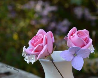 This hair stick wedding epingeles peak bun flowers wedding, Bridal headpieces with roses