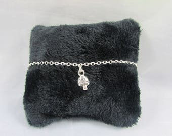 Ankle chain - mushroom charm - silver-plated REF BC001
