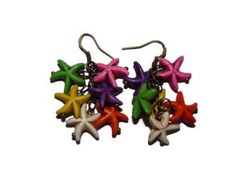 Earrings Starfish howlite stones multicolored summer jewelry colorful women on etsy shop