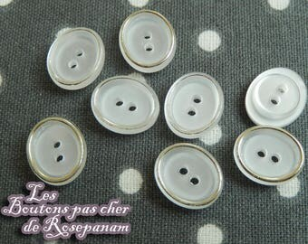 8 adorable buttons oval white satiny encircled in gold - 2 holes - 1 cm diameter