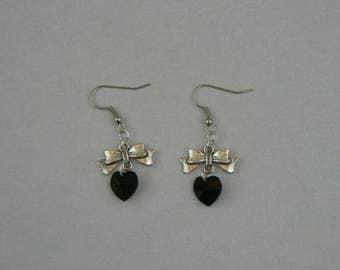 Black Swarovski Crystal and silver metal heart earrings