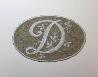 "MONOGRAM LETTER ""D"" EMBROIDERY ON LINEN WHITE"