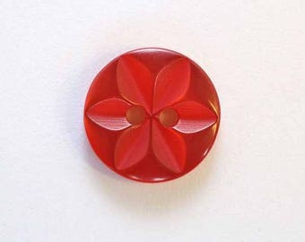 Button star 11 mm x 20 Red 2 hole - 001602