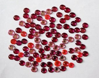 Rhinestone round craft Lot 100 diameter 10 / 11mm: Rose - 002110