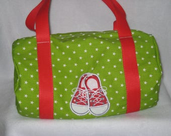 Gym bag in cotton and Red sneakers