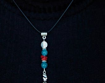 Mermaid pendant and aquamarine and Red coral beads