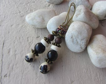 Glass spun on copper wire, stone and glass beads, ecru, Brown, purple, rustic, ethnic drop dangle earrings, charm