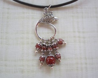 Necklace black leather with agate beads and carnelian on silver plated phoenix pendant