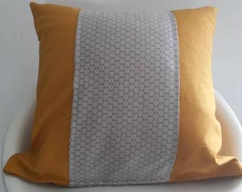 Mustard Cushion cover and taupe 40 x 40 cm