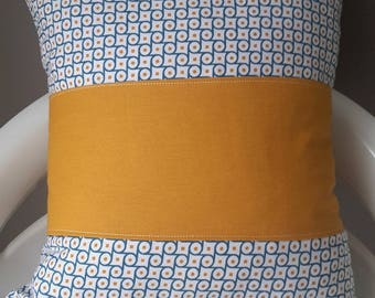 Blue and mustard yellow graphic pillow cover