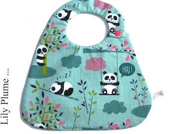 Baby panda snap bib