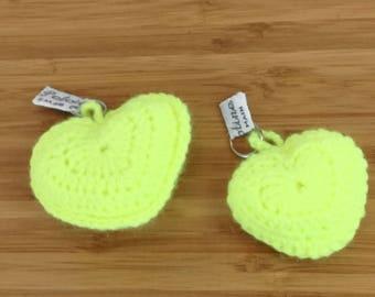 "Keychain ""Neon""yellow heart crochet wool"