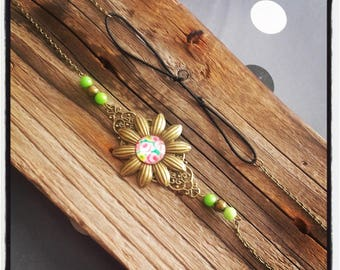 Head Band head bronze flower jewelry / pearls and green flower cabochon